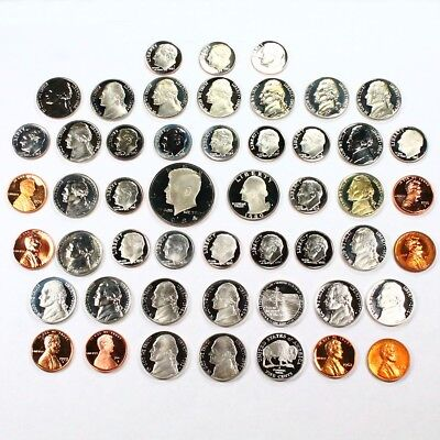 50 All Different US Mint Proof Coins. Great Variety.
