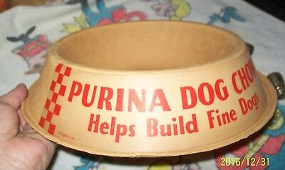 Vintage Original Dog Purina Animal Food Cardboard feed Bowl Advertising Giveaway