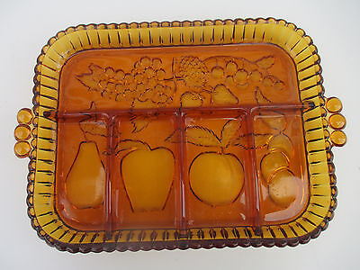 Vintage Indiana Glass Golden Amber 5 Part Relish Dish Tray with Fruit Pattern