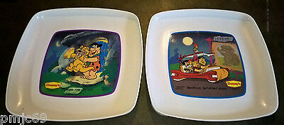 Lot Of 2 1989 Denny's Flintstones Plates ~ Putting The Cat Out ~ Saturday Night