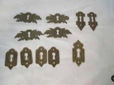 11 Antique Ornate Fancy Keyhole Covers - Nice Variety   ks2