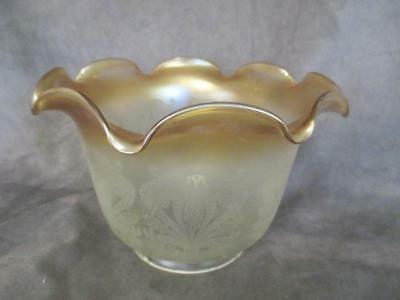Vintage Vianne French Glass Etched Scroll Medium Lamp Shade Frosted to Gold ks6