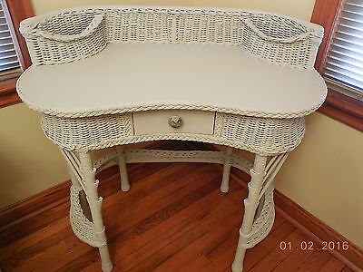 Vintage Wicker Library Table or Desk  #