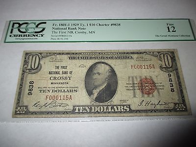 $10 1929 Crosby Minnesota MN National Currency Bank Note Bill! #9838 FINE PCGS!