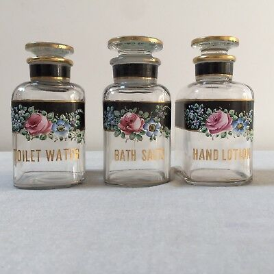 3 Antique Apothecary Jar Glass Vanity Bottle Bath Salts, Toilet Wtr, Hand Lotion