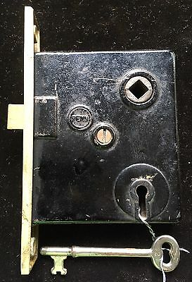 "Antique Vtg ""brass Penn"" Mortise Lock Set W Working Skeleton Key"