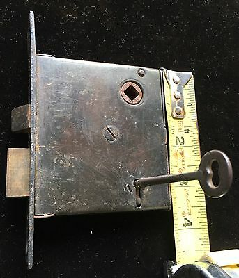 "ANTIQUE VTG ""RUSSELL & Erwin"" MORTISE LOCK SET W WORKING SKELETON KEY"