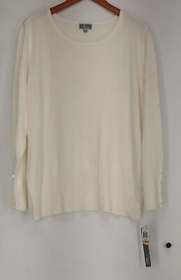 JM Collection Plus Size Sweater 3X Crew Neck Eggshell Ivory New