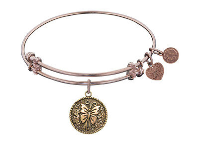 Angelica Antique Pink Stipple Finish Brass butterfly Expandable Bangle
