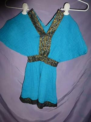 Ethiopian Eritrean African Dress shimmery ruched Gauze woven trim Baby Girl size