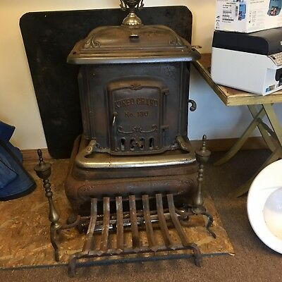 Parlor Wood Stove Antique Cast Iron Kineo Grand #130 Heart Victorian