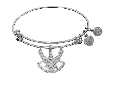 Angelica Collection Brass White Finish U.S. Air Force Symbol Expandable Bangle