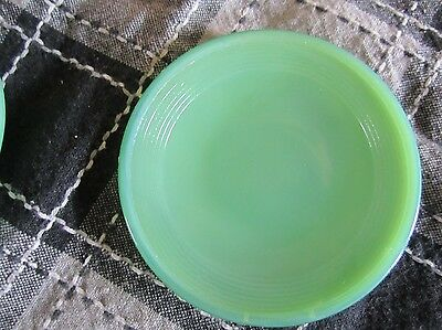 2 Vintage Child's Akro Agate SMALL GREEN/ JADEITE CONCENTRIC RING PLATES #2