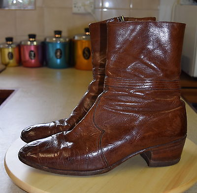 Vintage Mens Leather AQUILA Sz 10 Side Zip Boots Cowboy Over Ankle Stacked Heel