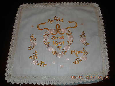 Antique Society Silk Hand Embroidered Boudoir Pillow Top SWEETHEART Motto