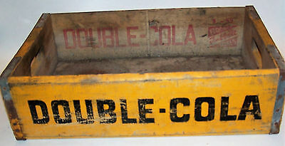 Vintage Yellow Double Cola Wooden Soda Crate from Detroit Michigan