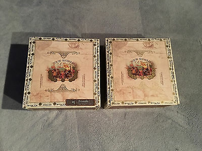 Lot Of 2 New World 6 X 54 Belicoso Cigar Boxes Wooden Wood Craft Box Aid Jewelry
