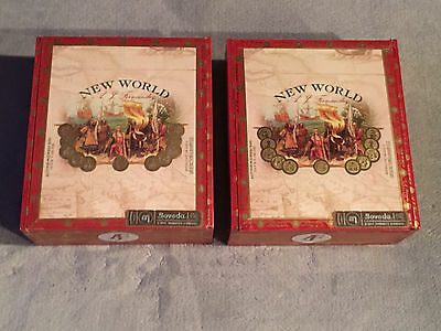 Lot Of 2 New World 6 1/2 X 55 Toro Cigar Boxes Wooden Wood Craft Box Aid Jewelry