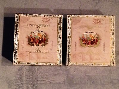 Lot Of 2 New World 6 X 52 Toro Cigar Boxes Wooden Wood Crafts Box Aid