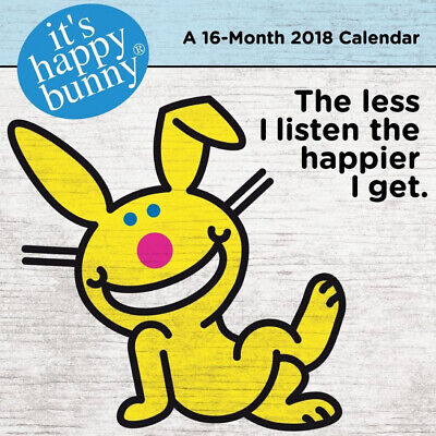 It's Happy Bunny 16 Month 2018 Animated Art Wall Calendar NEW SEALED
