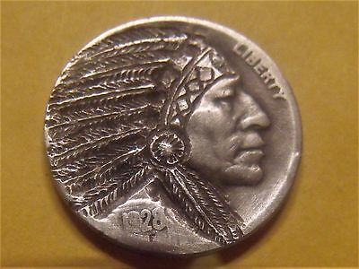Hand carved Hobo nickel coin Chief  Buffalo