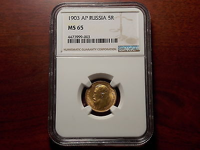 1903 Russia 5 Rouble Gold coin NGC MS-65
