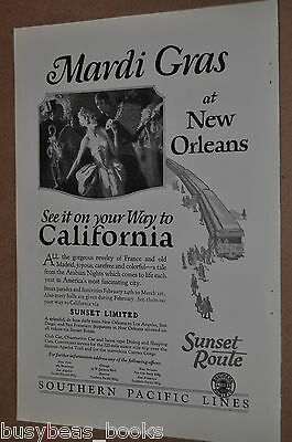 1927 SOUTHERN PACIFIC RR advertisement, Sunset Limited New Orleans, Mardi Gras
