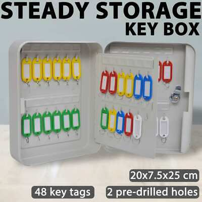 48 Hooks Wall Mountable Sturdy Steel Key Keyring Safe Box Caddy/Organiser/Tags