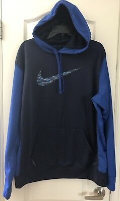NIKE THERMA-FIT Blue Pullover Hoodie Men's Sz Large