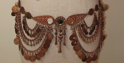 Mirror Copper Tone Coin Belt Chain Link Tribal Belly Dance  Medallion Antique
