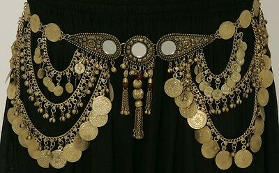 Mirror Gold Tone Coin Belt Chain Link Tribal Belly Dance  Medallion Antique