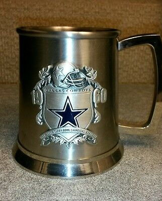 NFL Dallas Cowboy Super Bowl Championships Pewter Stein Commemorative Cup