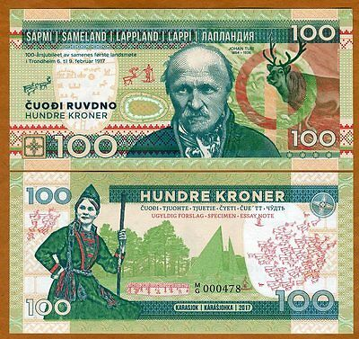 Lapland (Finland), 100 Kroner, 2017, Private Issue, UNC > Johan Turi