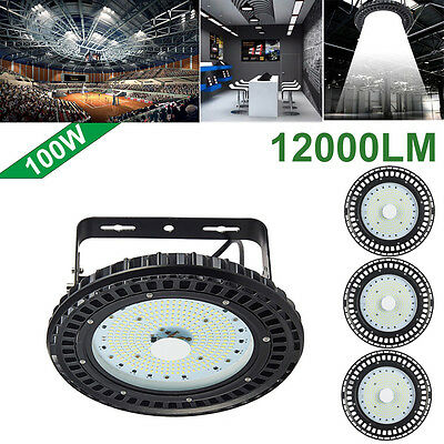 4X 100W UFO LED High Bay Light Factory Warehouse Gym Office Roof Shed Lighting