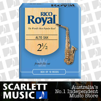 Rico Royal Alto Sax Saxophone 10 Pack Reeds Size 2.5 ( 2 1/2 - Two and a Half )