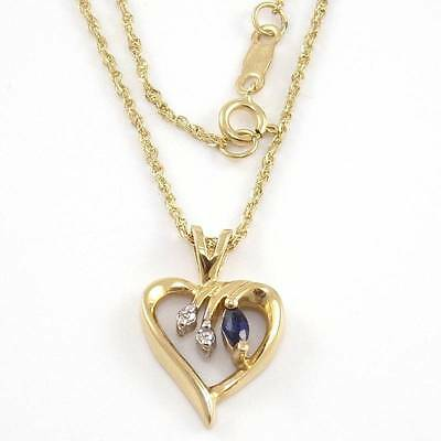 "14K Yellow Gold Diamond Blue Sapphire Heart Pendant Chain Link Necklace 16"" 1mm"
