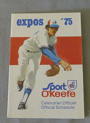 Original MLB Montreal Expos 1975 Official Baseball Schedule