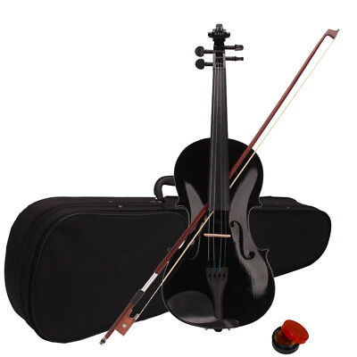 4/4 Full Size Black Color Student Acoustic Violin Fiddle with Case Bow Rosin New