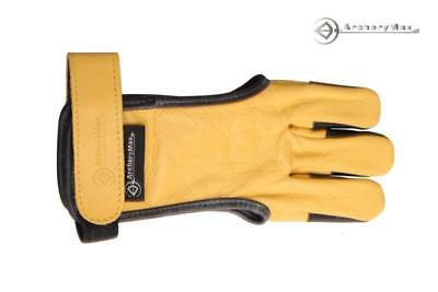 Yellow Protector Gloves Archery Shooting Longbow Hunting 3 Fingers Leather Guard