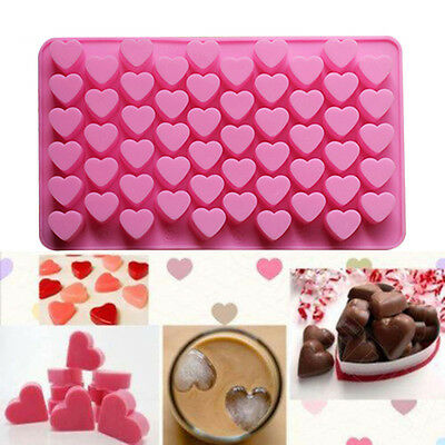 Pink 55 Heart Shape Cake Chocolate Cookie Baking Ice Cubes Cooking Mould Trays