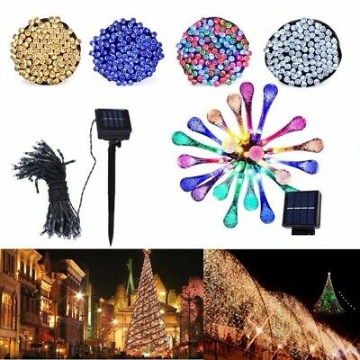 200 LED Solar Power String Fairy Light Outdoor Xmas Party Waterproof Water Drop