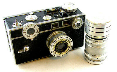 Vintage/Early Argus C w/Accessory Tele-Sandmar 100mm F4.5 Lens and Case
