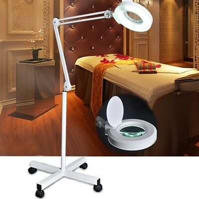LED 5x Diopter Magnifying Adjustable Rolling Facial Floor Stand Lamp Magnifier
