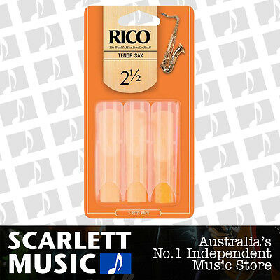 Rico Tenor Sax Saxophone Reeds 3 Pack Reed Size 2.5 3PK (2 1/2 - Two and a Half)