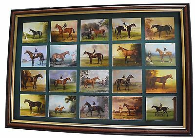 Earl of Derby Collection of Racehorse paintings Cards Set Mounted And Framed