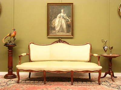 French Louis Xv Style Finely Carved Beech And Velvet 3 Seater Sofa Settee Couch
