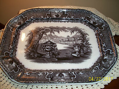 1850's Antique Podmore & Walker Black Transferware Platter Washington Vase