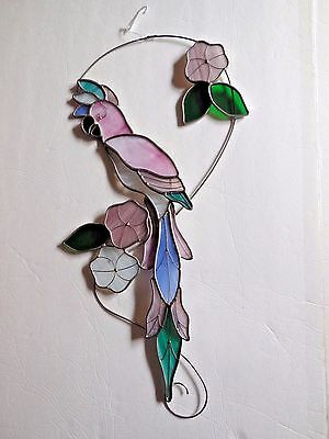 "Parrot/Cockatoo Vintage Stained Glass/Metal, 21.5"" High, Multi-Color, Unbranded"