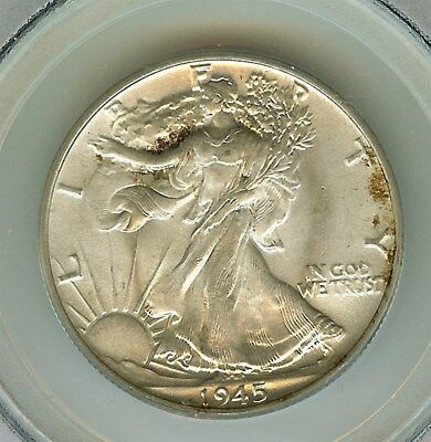 1945 Walking Liberty Silver 50 Cents -Old Green Pcgs Label- Pcgs Ms65