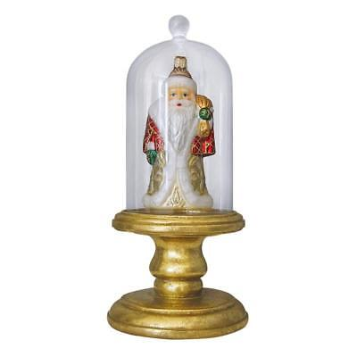 Glass Dome Old World Christmas Ornament Display On Gold Colored Pedestal 14302